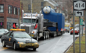 Transport delivers natural gas boiler to Cargill