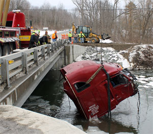 Truck goes off Route 226, lands in the water