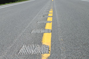 Centerline rumble strips are now in place