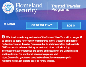 NY to sue over trusted traveler programs